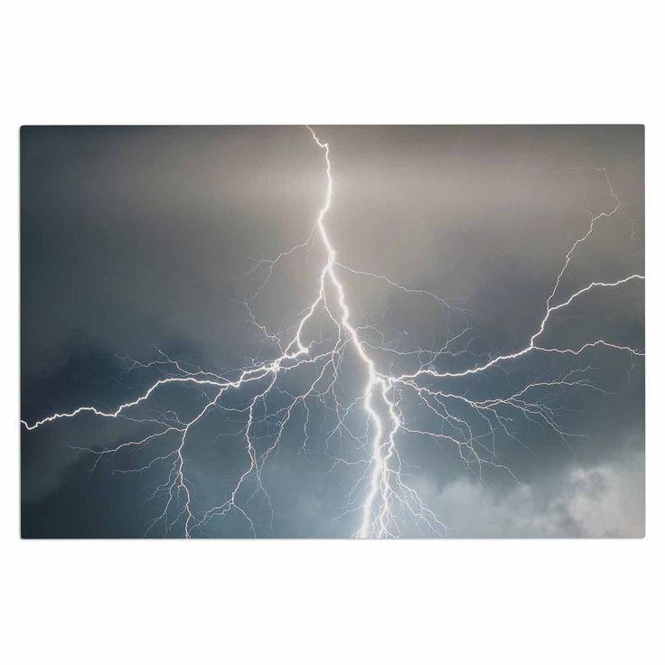 "KESS Original ""Lightning Storm"" Blue White Decorative Door Mat"