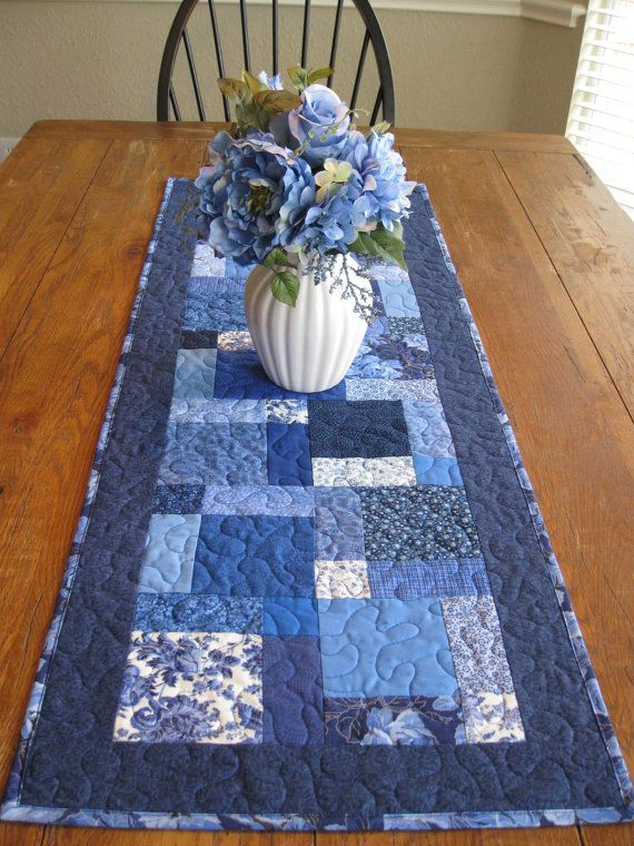 Is blue your favorite color? Its one of mine. This runner would be a beautiful addition to any table. Its made using a variety of blue fabrics in 100% cotton, the batting is Warm and Natural cotton batting. Its machine washable and dry, iron on a cotton setting.    Runner measures about 18 x 48 1/4    Made in my smoke free studio and is ready to ship.    Thank you for stopping by, have a blessed day.