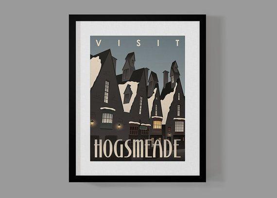 Visit Hogsmeade Travel Poster, Harry Potter Print, Harry Potter Wall Art, Modern Home Decor, Wall Art, Art Deco on Etsy, $10.50