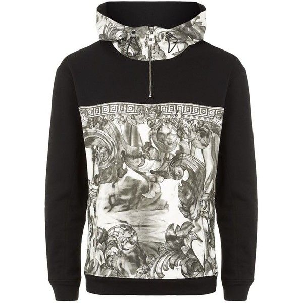 Versace Collection Baroque Half Zip Hoodie ($475) ❤ liked on Polyvore featuring men's fashion, men's clothing, men's hoodies, mens hoodies, mens sweatshirts and hoodies and mens cotton hoodies