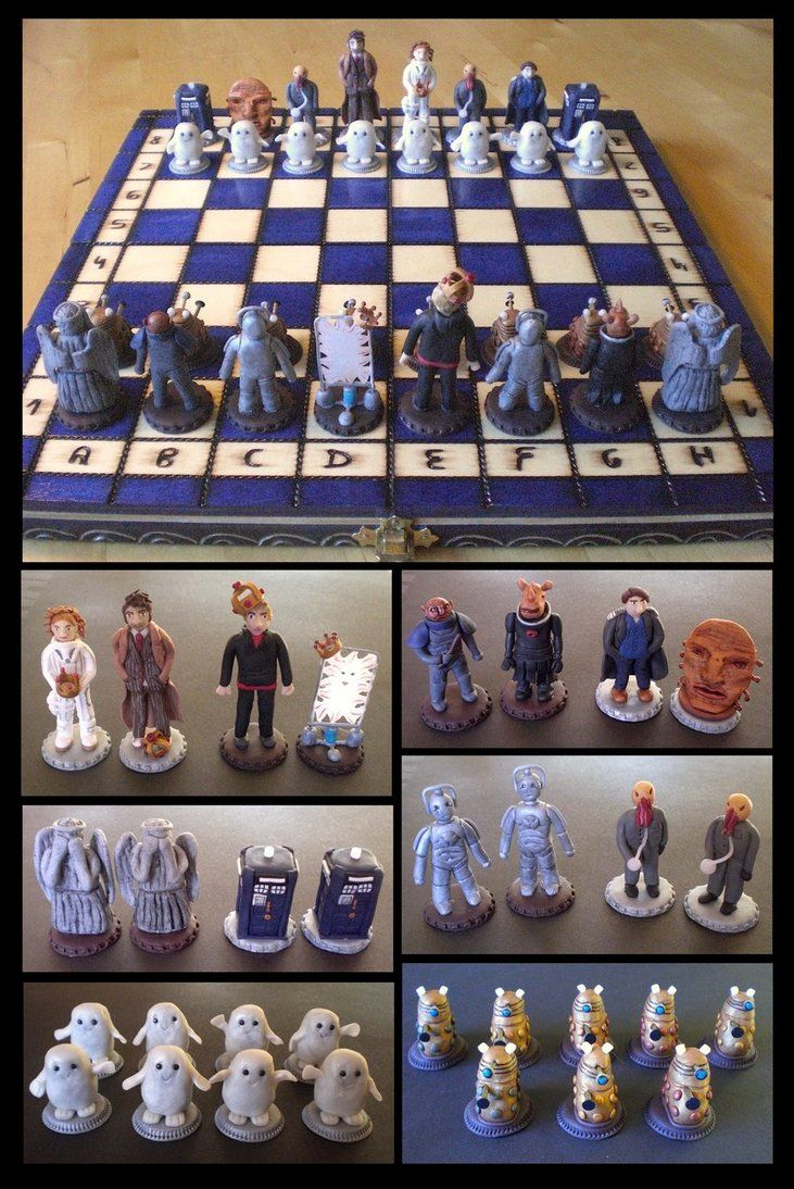 Doctor Who Chess Set by ~EldalinSkywalker on deviantART with Doctor Ten. I love the baby Adipose pawns