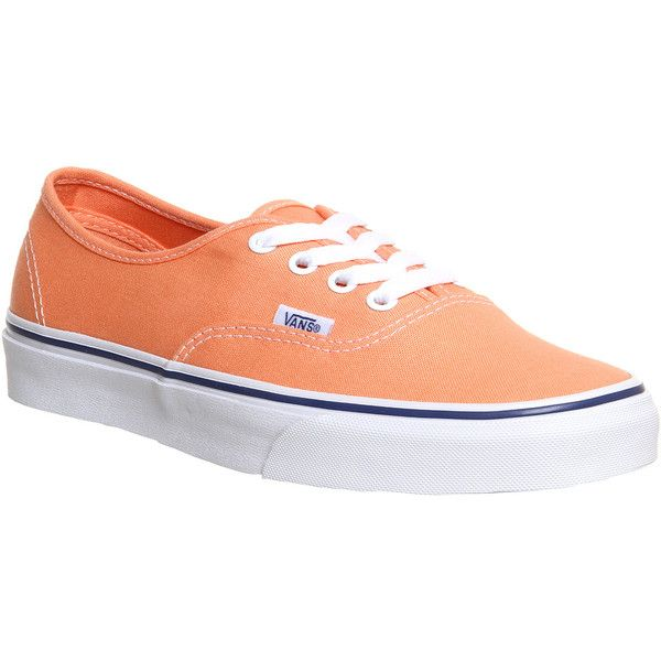 Vans Authentic ($32) ❤ liked on Polyvore featuring shoes, sneakers, vans, trainers, canteloupe true white, unisex sports, white trainers, white rubber shoes, white skate shoes and skate shoes