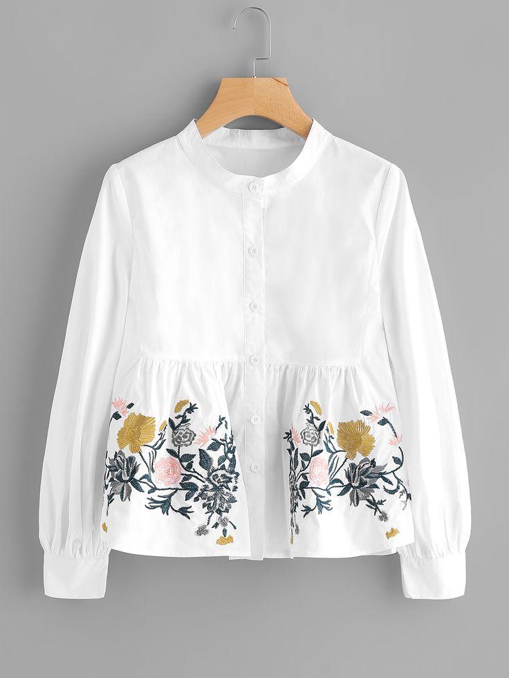Blusa con bordado de flor -Spanish SheIn(Sheinside)