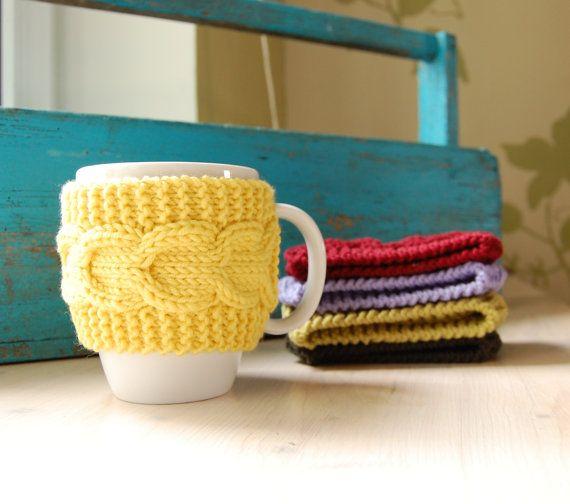 Knitted Mug Warmers Pattern : Coffee cup cozy hand knit with cable pattern, mug sleeve / mug warmer, yellow...