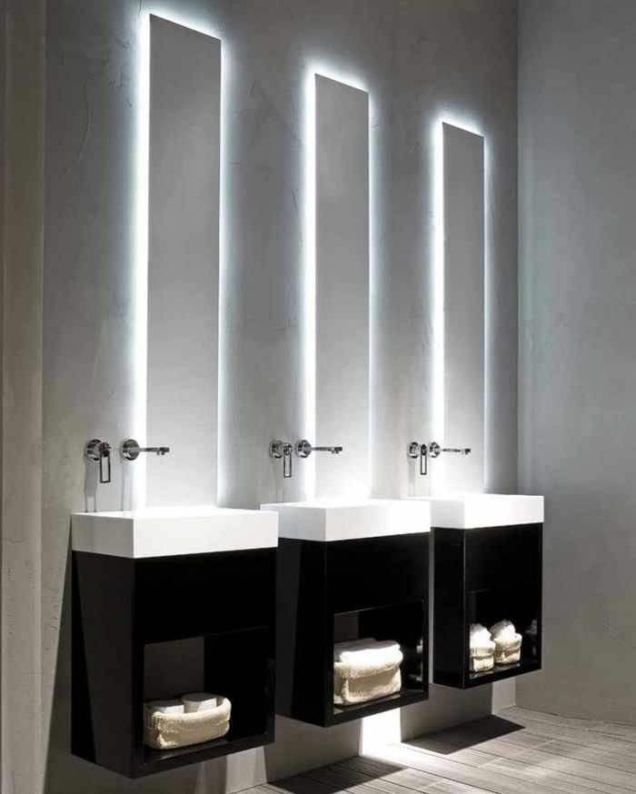 éclairage indirect pour la salle de bain moderne avec murs gris