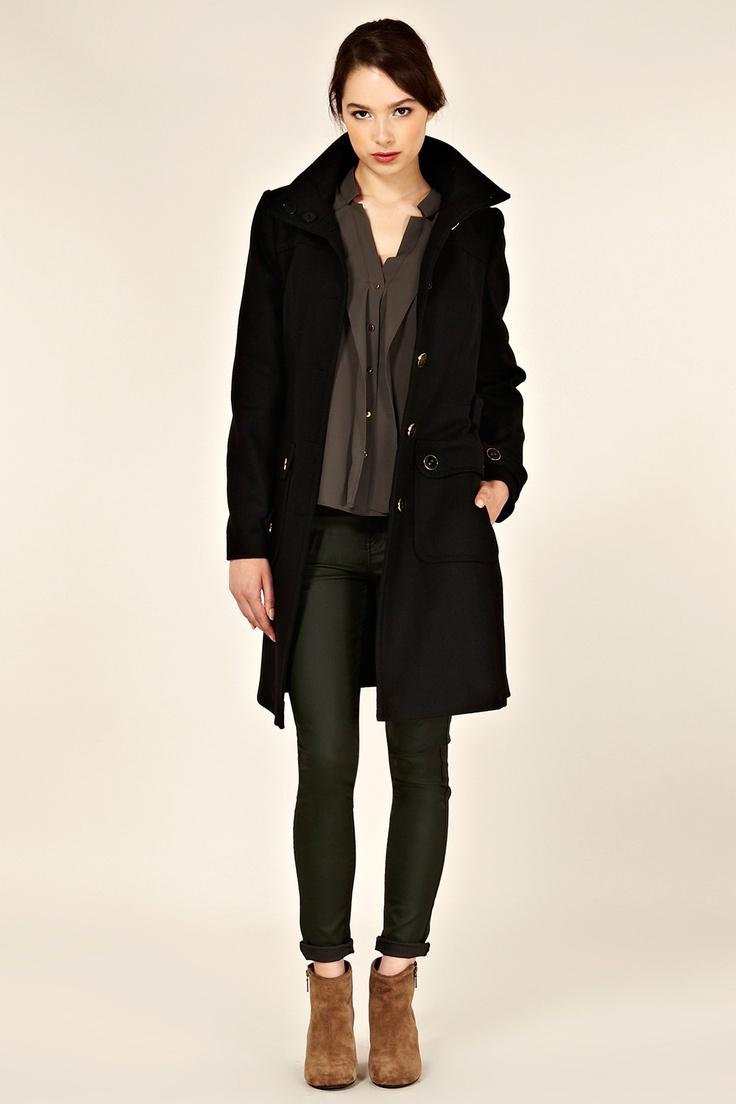 Biker coated skinny jeans and black winter coat: Oasis, UK