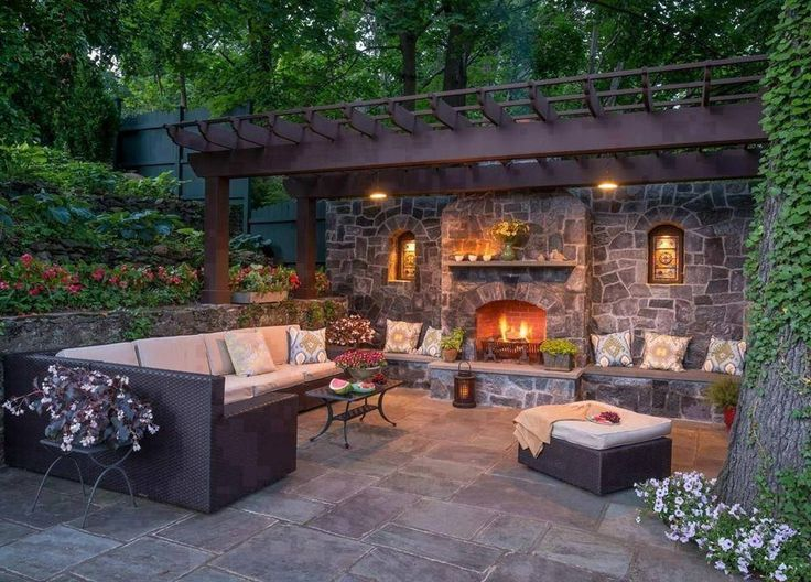 Backyard Retreats Ideas : Backyard Retreat  outdoor fireplace and seating surrounded by raised