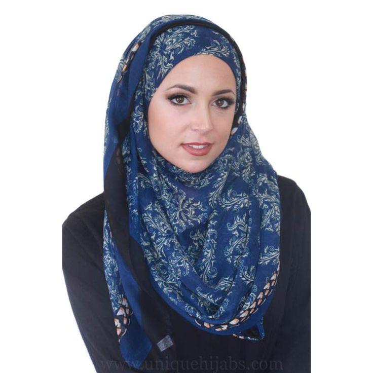 Full bloom light hijab in blue www.uniquehijabs.com