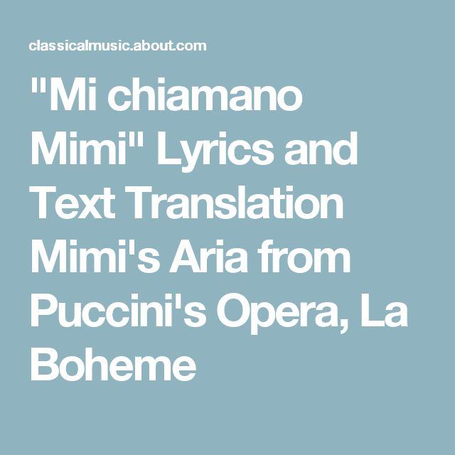 Italian and English Lyrics to Mimi's Aria From La Boheme