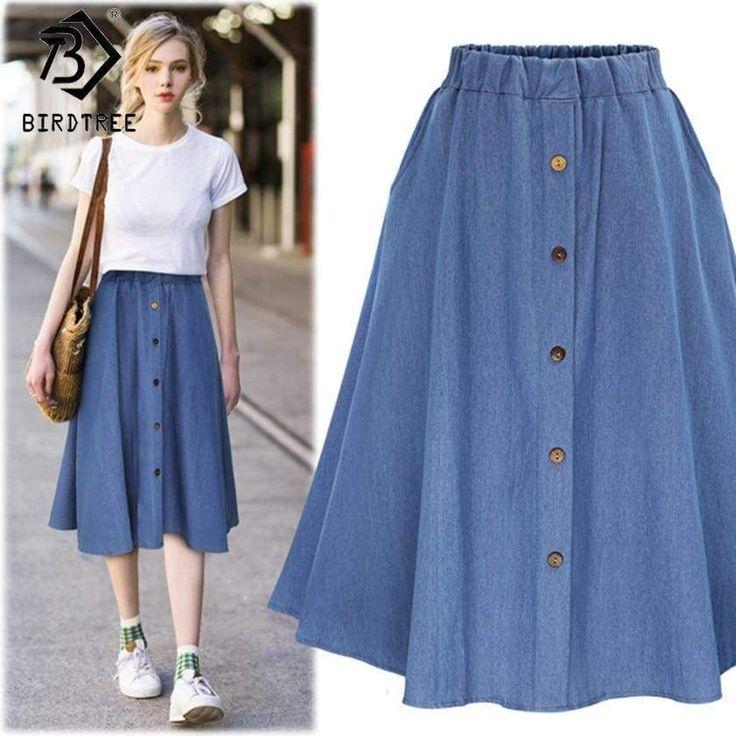 Denim Women Solid Color Long Skirt 1
