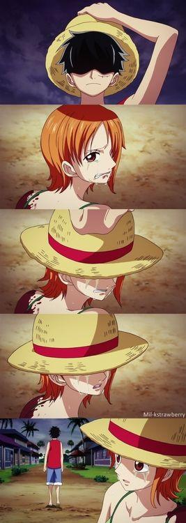 Luffy e Nami... Uma das coisas que eu mais amo no Luffy é a paixão que ele tem pelos seus nakamas.. Esse é o nosso Luffy! Essa cena é linda!