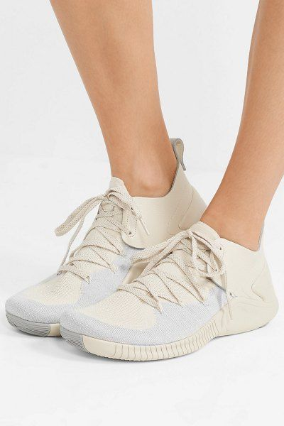 5f81dd3d9cc8 Nike free tr 3 champagne crinkled leather-trimmed flyknit sneakers.  nike   sneakers  activewear