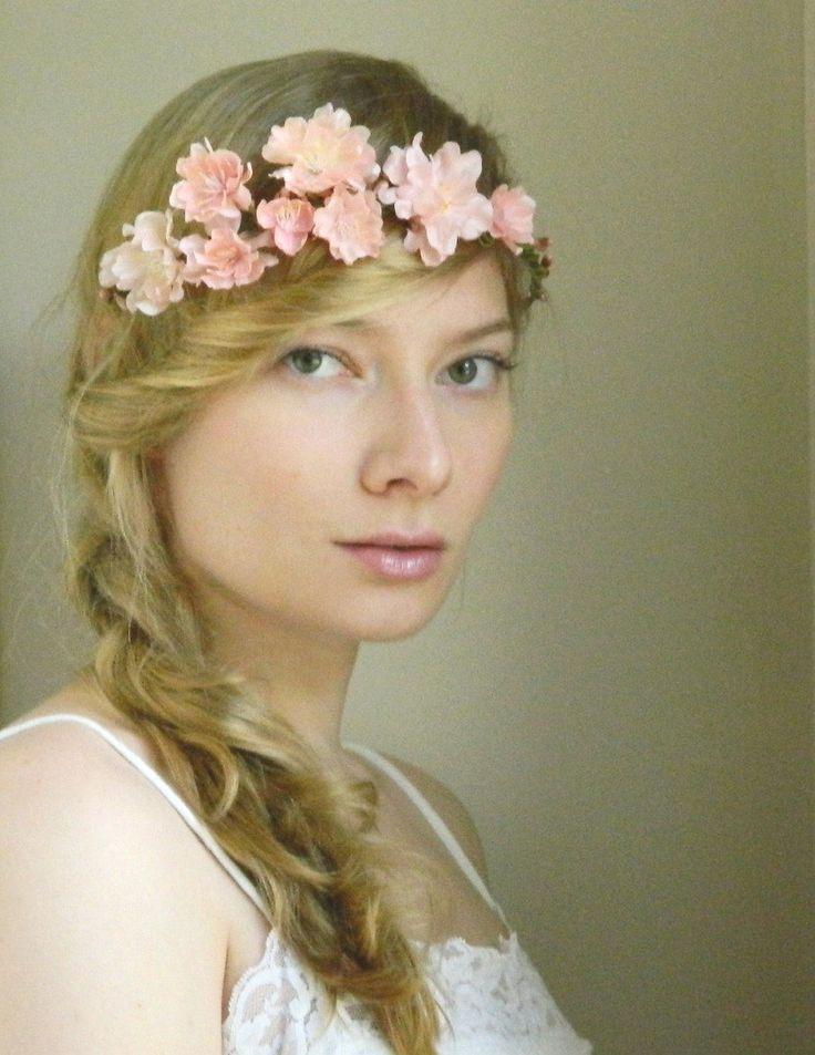 Rustic Blush 'Liesl' Wedding Flower Hair Piece - Pink Cherry Blossom Rustic Woodland Wedding. $60.00, via Etsy.