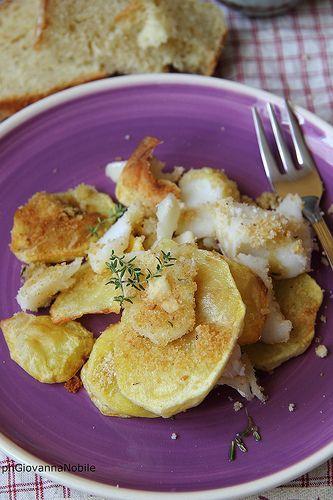 Baccalà con patate gratinato al forno, sul blog la cuoca eclettica, la ricetta