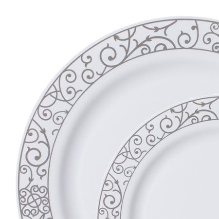 Venetian White Silver Plastic Dinnerware Value Set