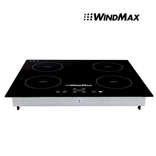 WindMax WM6842 Euro Style 220V Induction 4 Burners Stoves Glass Plate Kitchen Cooktops 23-Inch