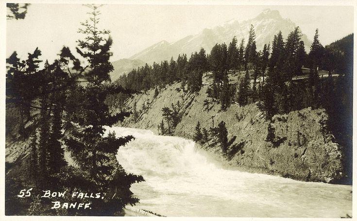 Postcard 7373: Harmon Byron, Bow Falls, Banff ([before 1942])