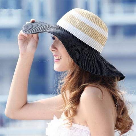 Striped wide brim sun hat for women UV floppy straw hats package
