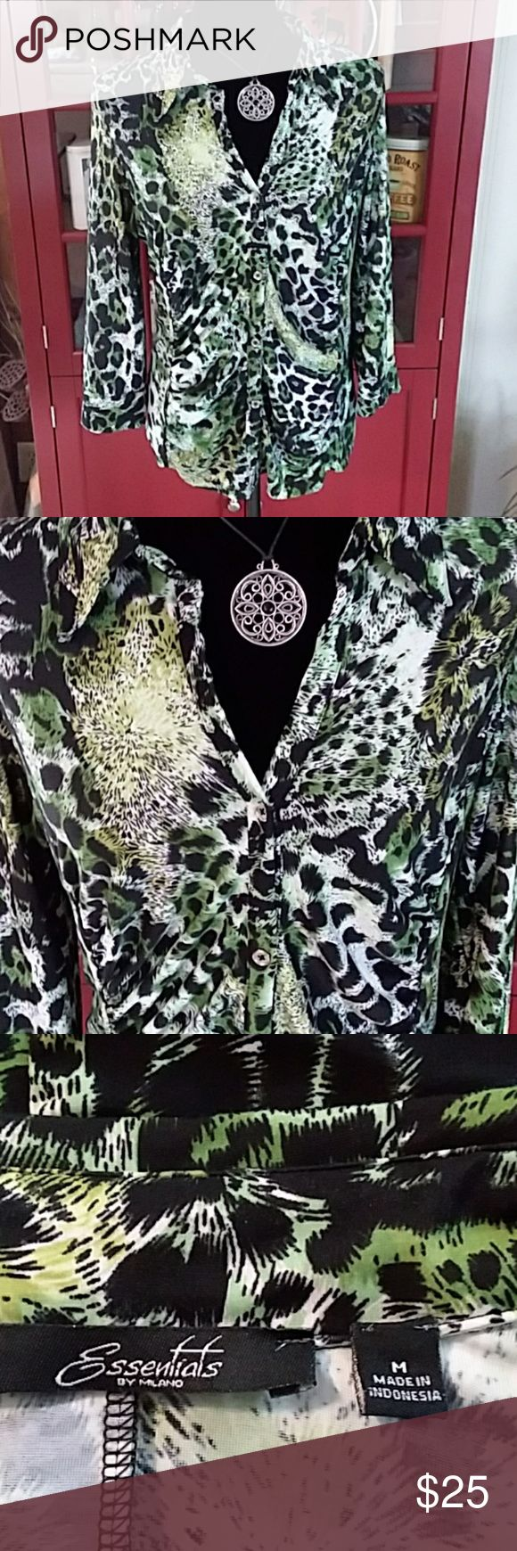 Green & Black Leopard Print Shirt This gorgeous shirt is soft, silky & flattering with its puckered front & 3/4 sleeves. It's one of my favorite pieces! Looks great with a black skirt! Essentials Tops Blouses