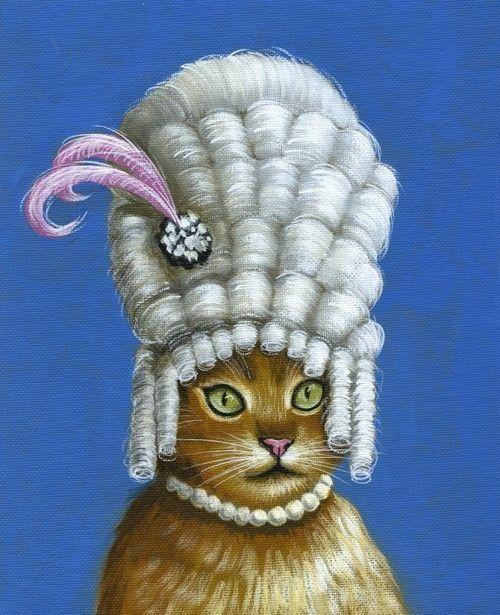 Ki-Tee Antoinette: Cat Art, Mary Antoinette Wigs, Art Paintings, Antoinette Cat, Marie Antoinette, Pretty Cat, Antoinette Parties, Eating Cakes, Amy Giacomelli