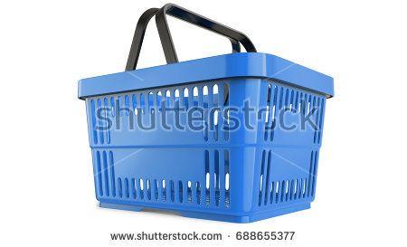 Plastic blue shopping basket, 3D model. 3d llustration render, isolated on white background