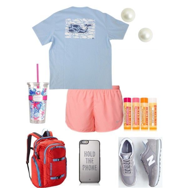 Preppy College Days by ellebear on Polyvore featuring polyvore, fashion, style, Vineyard Vines, NIKE, New Balance, Patagonia, Kate Spade, Burt's Bees and Lilly Pulitzer