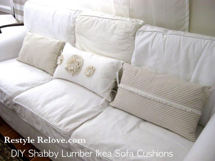Shabby Chic Sofa Pillows | DIY Shabby Lumber Cushions For Ikea Ektorp Sofa  | Pillows | Pinterest | Ektorp Sofa And Shabby