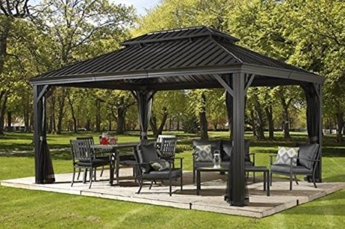 Amazing Patio Sun Shelter Pool Furniture Gazebo 10 X 12 Ft Hardtop Steel Roof  Garden Set