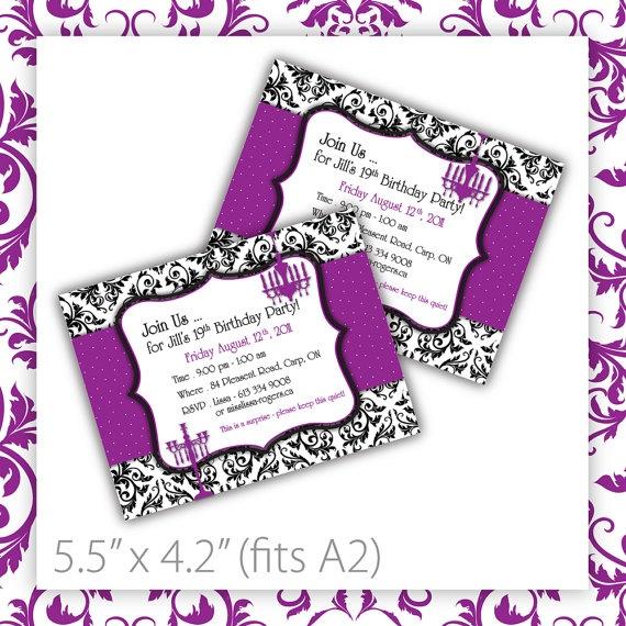 printable birthday party invitation   damask   purple