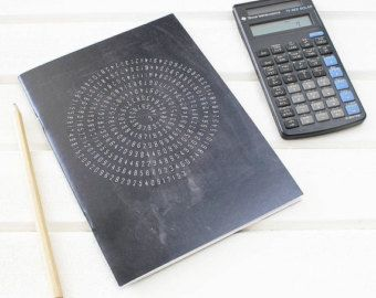 Maths Pi Chalkboard Notebook for Mathematicians. Plain Pages. Scientific Stationery Geeks. Science Black, UK Printed.