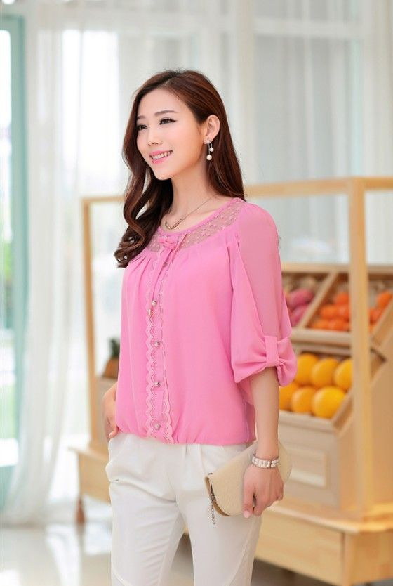 2015 chiffon blouses, summer blouses, new blouses, sweet blouses, chiffon gilrs shirt, cute #chiffon tops, #korean chiffon tops, asian style chiffon tops, #pearl buttons chiffon top, YRB fashion, YLY #pink #yrbfashion