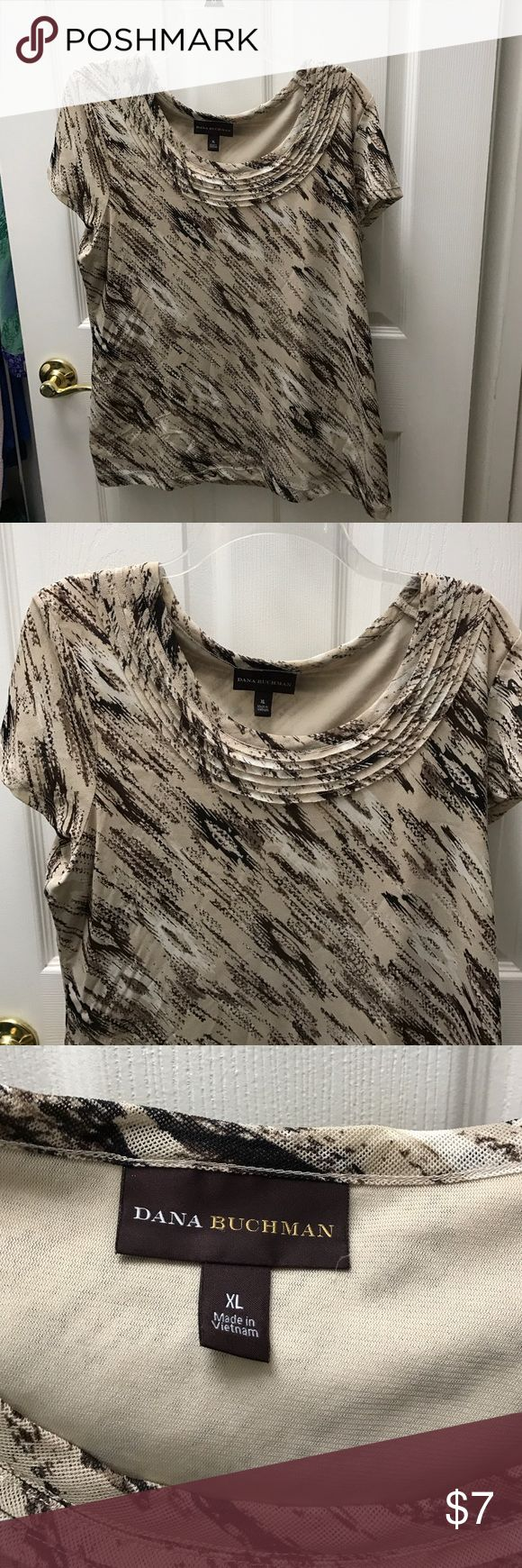 Woman's blouse Dana Buchanan Very Nice Blouse in tan and brown Woman's size XL Excellent Condition Very nice easy care fabric Dana Buchman Tops Blouses