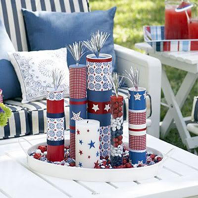 Mailing tube firecrackers! You can use fabric or even scrapbook paper to decorate the tubes! If you have sturdy clear canisters you can fill them with red, white, and blue candy!