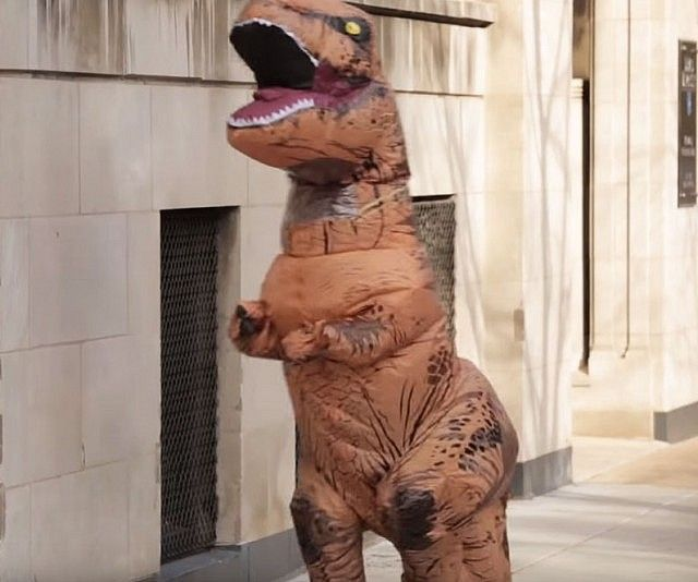 Get prehistoric this Halloween season by dressing up in this terrifyingly realistic inflatable T-Rex costume. It is available in both adult and children's sizes, so you and your little ones can run amok in the neighborhood, getting all the Halloween candy.