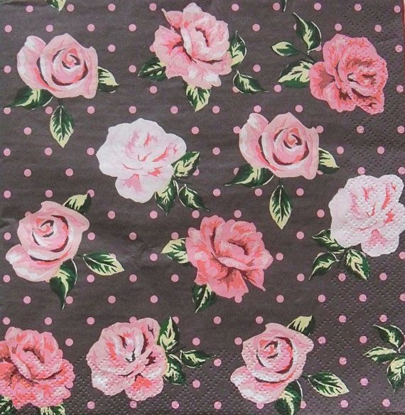 Set of 2 pcs 3-ply ''Roses dots'' paper napkins by MSNapkinsSupply