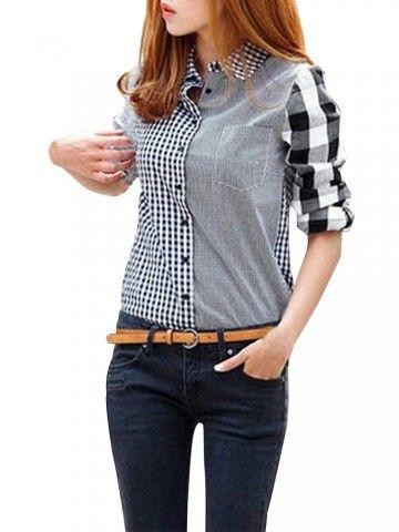 Compruebe Botón a cuadros de manga larga Jersey de cuello camisa Online - NewChic