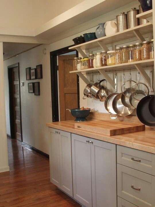 Gray Cabinets Open Shelving Jar Storage Butcher Block The
