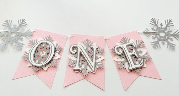 Snowflake First Birthday Highchair Banner! Onederland Party, Pink, Silver Glitter, and White- Frozen Winter Birthday