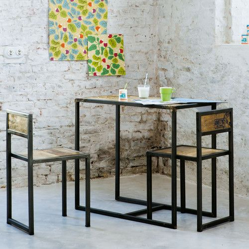 Mangohouten en metalen hoge eetkamertafel + 2 stoelen B 90 cm