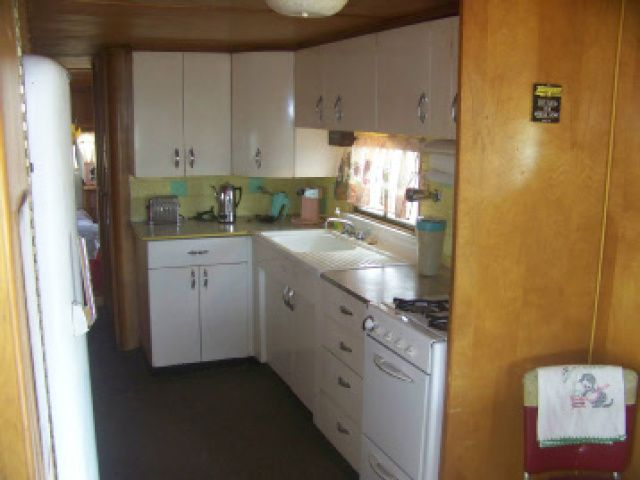 Kitchen in the New Moon vintage trailer at the Starlite Campground ....................Mobile and Manufactured Home Living Day Dreaming of The Starlight Classic Campground   Mobile and Manufactured Home Living