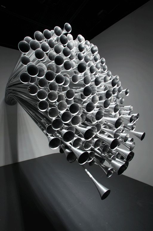 Sound Sculpture by Byoungho Kim - Three Hundred Silent Pollens, 2009 (aluminum, piezo speakers, condenser microphone, microspeaker, mixer, amplifier).
