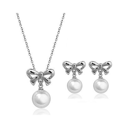 Fashion beautiful bowknot pearl pendant 18k white gold plated necklace earrings jewelry set [JS738] - US$6.39 : www.evernewfashion.com