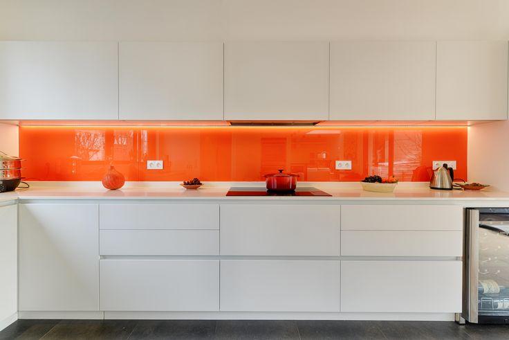 cucina   arancione   bianco   parigi   italian design