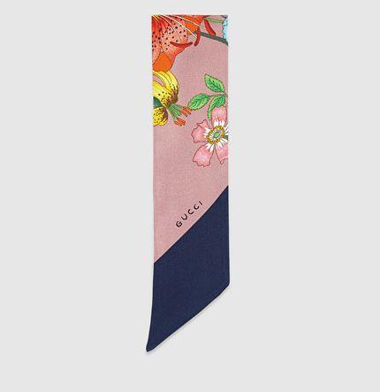 silk twill flora print neck bow