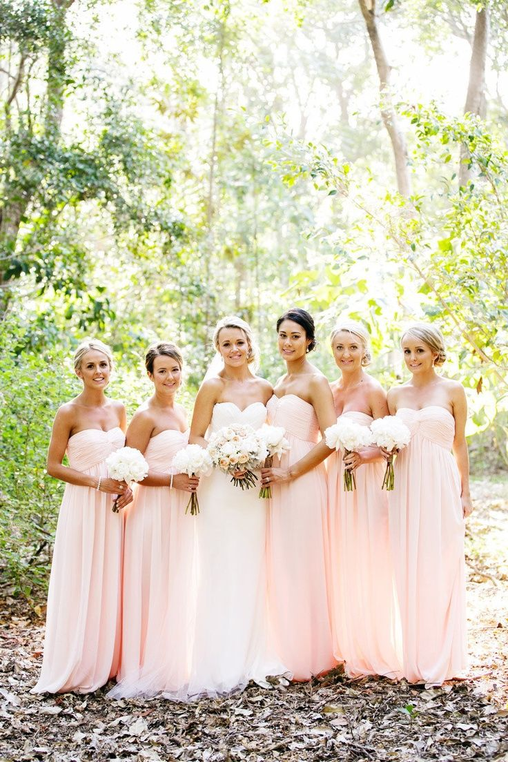 Blush pink bridesmaid dresses. i absolutely love these colours... long is soo beautiful but not sure if i want any one else in a long dress haha!