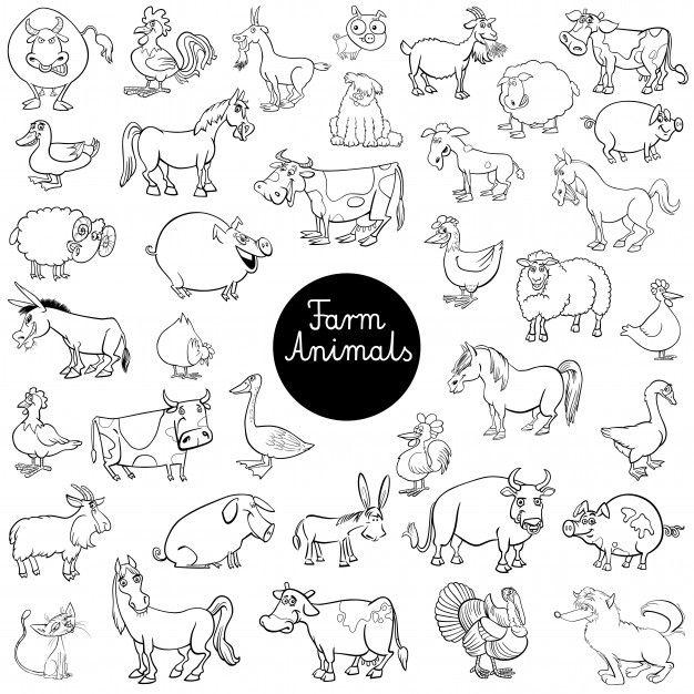 Cartoon Farm Animal Characters Set Color Book Black And White Cartoon Cartoon Illustration Farm Animals