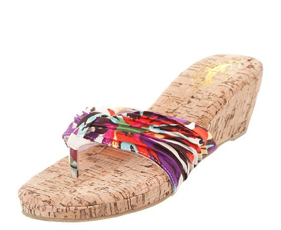 Purple coral platform wedge sandals - these lovely sandals have an almond shaped toe, flexible toe post and ruched fabric straps with floral print- 5.5cm cork wedge heel - 1.5cm platform- Very comfortable and light