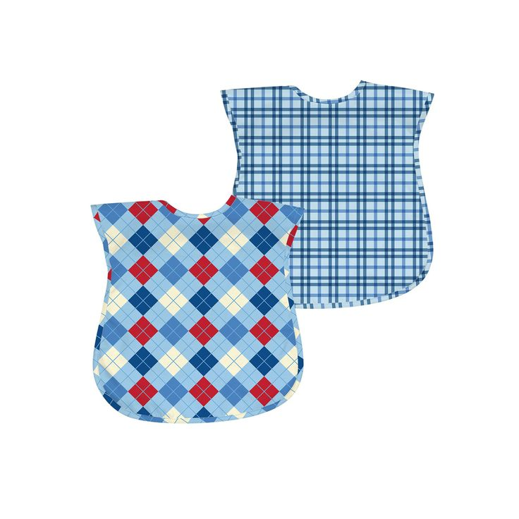 Green Sprouts by i play. 2-pk. Argyle and Plaid Waterproof Bibs - Baby, Blue