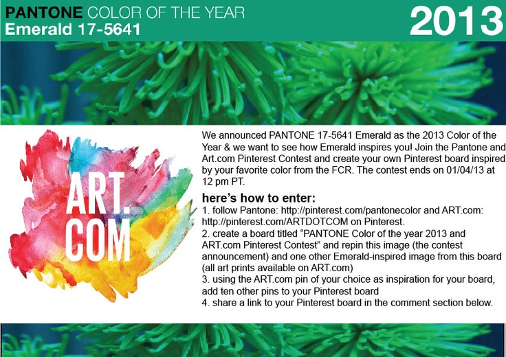 To celebrate the 2013 PANTONE Color of the Year, we're hosting a Pinterest contest with @ART.COM!