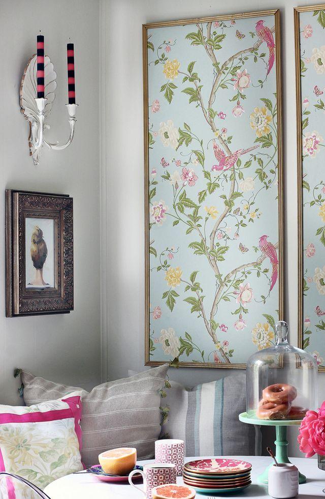 DIY Framed Wallpaper Panels Hunted Interior